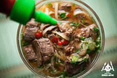 Pho Bo (Vietnamese Beef Noodle Soup) by Thi Khen Tran,The Egg Roll Lady Chef via hungrynative #Soup #Beef #Noodle #Pho_Bo