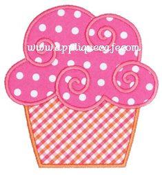 Swirly Cupcake Applique Design