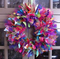 Spring or Summer Ribbon Wreath...Tons of Ribbon lots of texture and Color. Very Vibrant...