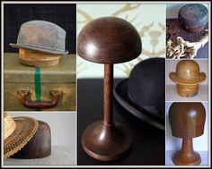 """The *right* way of storing a hat on Andrew Barnes Lifestyle:  On the left: Antique wood hat blocks.  In the center: Antique style hat stand.  On the right: Vintage """"Capital"""" hat block, Bowler hat block, and vintage hat block on a turned base."""