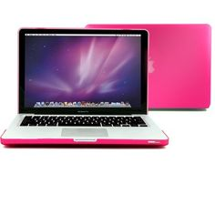 GMYLE (TM) Rose Red/Hot Deep Pink Rubberized-see-through Hard Case Skin Cover for Aluminum Unibody 13 Inches Macbook Pro