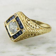 Vintage 14k Gold Aquamarine Diamond Sapphire by ArtifactVintage, $425.00