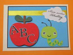 """Glückwunschkarten - Glückwunschkarte zur Einschulung """"Apfel ABC """" - ein Designerstück von Wonderful-Paper-Art bei DaWanda"""