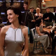 silver dress + dropped necklace /Monica Geller You are in the right place about monica geller outfit Rachel Green, Fashion Guys, Friends Fashion, Women's Fashion, Phoebe Buffay, Chandler Bing, Outfits Dress, Cool Outfits, Ross Geller