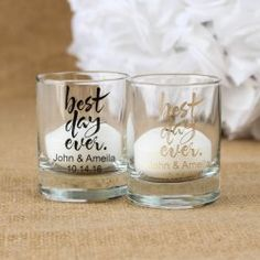 Personalized Shot Glasses / Candle Holders #wedding #bestdayever #favorcouture http://favorcouture.theaspenshops.com/rustic-wedding-shot-glass.html
