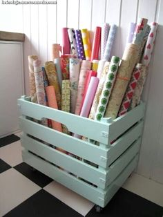 Wrapping paper storage--craft room when we finally buy a house Craft Room Storage, Craft Organization, Storage Ideas, Craft Rooms, Organizing, Wrapping Paper Organization, Vinyl Storage, Fabric Storage, Closet Organization