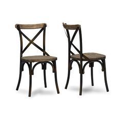 Konstanze Industrial Walnut Wood & Metal Dining Chair - 2 Chairs