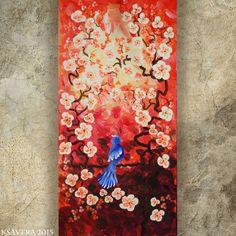 BIRD art on SAKURA TREE art love painting contemporary artwork red orange acrylic painting on canvas by Ksavera gift ideas for her decor by KsaveraART #TrendingEtsy
