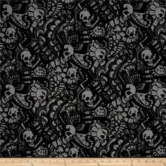 Alexander Henry Skullduggery The Catacombs Charcoal from @fabricdotcom  From the DeLeon Group for Alexander Henry, this cotton print fabric features  a maze of skulls for an eerie, cool feel. Perfect for quilting, apparel and home decor accents. Colors include black and grey.