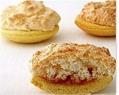 its foods - Hertzog Koekies (coconut-jam tarts) Coconut Recipes, Tart Recipes, Baking Recipes, Cookie Recipes, Dessert Recipes, Coconut Cakes, Healthy Recipes, South African Desserts, South African Recipes