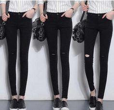 Celana Panjang Jeans Robek Wanita Online Terbaru B2843