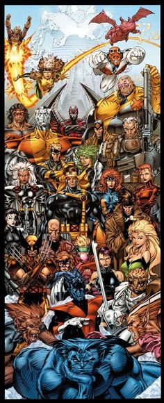 "MARVEL: ""X-Men Forever"" - recolored Jim Lee gate fold insert art from X-Men 1991 variant ed. Comic Book Characters, Comic Book Heroes, Marvel Characters, Comic Character, Comic Books Art, Comic Art, Book Art, Comic Pics, Comic Pictures"