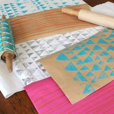 Printmaking with a Rolling Pin - DIY tips & tricks for stamping geometric design. Scrapbooking, cards, decorative printed paper & crafts for kids.