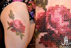 Tatuagem crochê ponto cruz