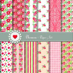 INSTANT DOWNLOAD Floral Digital Paper by blossompaperart on Etsy
