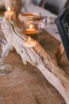 Our driftwood centerpieces