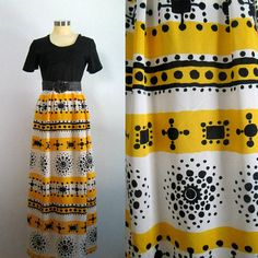 Mid Century Mod Maxi Dress // 1960s 1970s Black Yellow White Mod Girl, Black N Yellow, Ruffle Dress, Vintage Dresses, 1970s, Boho Chic, High Waisted Skirt, Mid Century, Summer Dresses