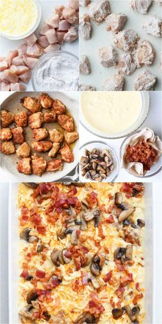 Easy recipe for creamy chicken casserole. How to bake chicken breast casserole in the oven with creamy sauce, bacon and mushrooms? #mushrooms #chicken #bacon #casserole #onepanmeal