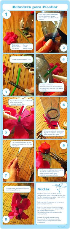 1-Materiales: Botella desechable 500 ml., Alambre, cordel, Bombilla, Flor de tela.(Tijeras y alicate)   2.- Con un cuchillo tibio, hacer u...
