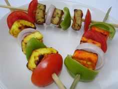 Tricolour paneer kababs Independence Day Theme, Sushi, Food Ideas, Colour, Ethnic Recipes, Color, Colors, Sushi Rolls