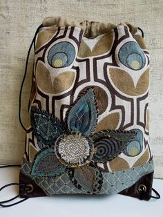 DRAWSTRING BACK PACK Cinch Sack  Recycled Bag  by WhimsyEyeDesigns.etsy.com