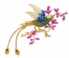 @Tiffany & Co. brooches of gemstones and lacquer inspired by Tiffany's 19th-century #Audubon design. Diamond, amethyst, yellow sapphire and lacquer brooch set in 18kt yellow gold: http://hilxry.com/19WG3lO