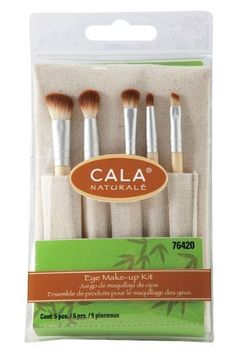 CALA Naturale - Eye Make-Up Brush Kit (5 PCS) #76420. Eye Make-Up Brush Kit (5 Piece). Eco-Friendly • Bamboo Handle • Animal Cruelty-Free Hair. ala Complete Eye Make-up Kit has everything you need to create fabulously stunning eyes . Kit includes :shadow applicator for basic application crease brush for blending highlighter brow liner and a smudger for eyeliner. Also comes with a handy carrying pouch made all natural fibers.