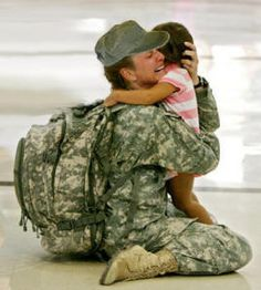 Female soldier returning home to her daughter.  What a powerful role model. (*I can only imagine*)