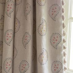 Susie Watson Designs - Susie Watson Designs Fabric Collection - Fringing running down the edge of beige curtains featuring a simple floral paisley pattern in grey, pink and yellow-green Fabric Blinds, Curtains With Blinds, Curtain Fabric, Linen Fabric, Hallway Curtains, Roman Blinds, Lounge Curtains, Beige Curtains, Cottage Curtains