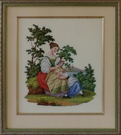 """""""Mother and child"""" Cross-stitch chart. The replica of the antique pattern. Designer: © Belikova Yana, 2014. Stitch count 171w x 201h., 60 colors, cotton embroidery floss DMC (no blend colors). A touching and tender Victorian scene. Embroidery. Embroideress Yana Belikova (Russia)."""
