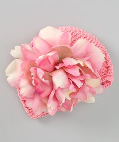 Take a look at this Pale Pink Peony Crocheted Beanie on zulily today!