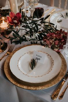 Opulent Place Setting In Reds And Golds Winter Wedding - Launcells Barton Luxury Cornish Wedding Venue Exclusive Hire Winter Wedding Styled Shoot With Images From Mcgivern Photography