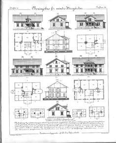 Byggnadshistoria - Här hittar du gamla mönsterböcker, husritningar av 1800-tals hus, snickarglädje, verandor, ritningar till lusthus och mycket annat!