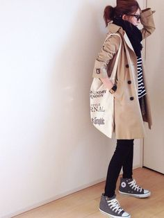 Daily fashion - Outfits With Stylish Ways to Wear Converse Shoes – Daily fashion Japanese Fashion, Asian Fashion, Look Fashion, Daily Fashion, Girl Fashion, Autumn Fashion, Fashion Outfits, Womens Fashion, Moda Converse