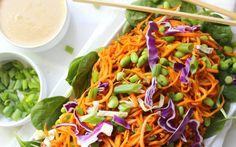 Sweet Potato Noodle Salad With Peanut Dressing [Vegan, Gluten-Free] - One Green PlanetOne Green Planet Peanut Dressing, Sweet Potato Noodles, Picnic Foods, Noodle Salad, Pasta Salad, Plant Based Recipes, Whole Food Recipes, Salad Recipes, Vegetarian Recipes