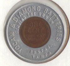 Encased Penny - Yocam & Diamond Batteries, Hdqrts Tampa (Florida) 1957D