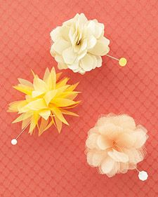 These handmade silk flowers make great boutonnieres; just start with the smallest templates. Make them following the directions, and pin in place with a corsage pin or a daisy-head quilting pin.
