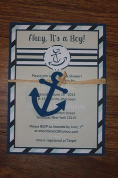 Nautical Little Sailor Baby Shower Invitation With Anchor Raffia Wrap On Etsy 2 00 Theme