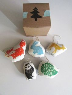 Hand Block Printed Ornaments. Woodland Animals. Set by LauraFrisk, $14.00