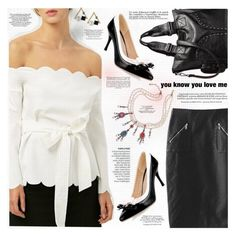"""""""Scalloped Bowknot Off The Shoulder Blouse"""" by katjuncica ❤ liked on Polyvore featuring Whiteley, blackandwhite, pearls, whiteblouse, BlackSkirt and offtheshoulderblouse"""