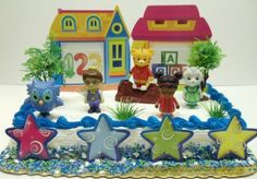 Daniel Tiger's Neighborhood and Friends 15 Piece Birthday Cake Topper Set Featuring Owl, Prince Wednesday, Daniel Tiger, Miss Elaina, Katerina Kittycat and Other Decorative Items