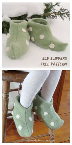 Felted Slippers Pattern, Sewing Slippers, Elf Slippers, Kids Slippers, Felt Patterns Free, Sewing Patterns Free, Free Sewing, Christmas Sewing Patterns, Pattern Sewing