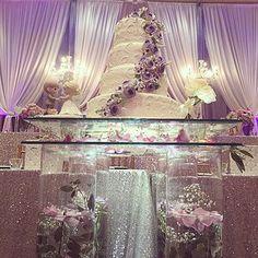 Custom designed cake table with submerged flowers Cake Table, Dessert Table, Submerged Flowers, Glitz Wedding, Wedding Cakes With Flowers, Wedding Reception Decorations, Custom Design, Tables, Vase