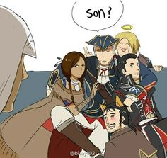 Edward's just in the background like: My grandson and son and friends and daughter in law All Assassin's Creed, Dark Souls, Assassins Creed Comic, Cry Of Fear, Skyrim, Sherlock, Geek Games, Character Art, Cowls