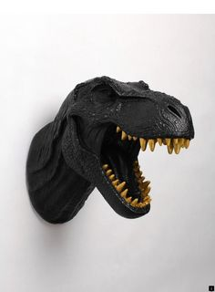 Dinosaur Wall Mount in Black - The Rufus w/Gold Teeth - Black Resin T-Rex Wall Decor - Trex Dinosaur Decor by White Faux Taxidermy Teeth Whiting At Home, Dinosaur Head, Teeth Whitening Diy, Stained Teeth, Black Gold Jewelry, Nice Jewelry, Faux Taxidermy, Taxidermy Decor, Eclectic Living Room