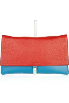 Jil Sander Two-tone leather clutch