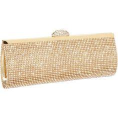 Ecosusi Sophisticated Crystals Rhinestones Clasp Flap Clutch Evening Bag Baguette Handbag (Gold)