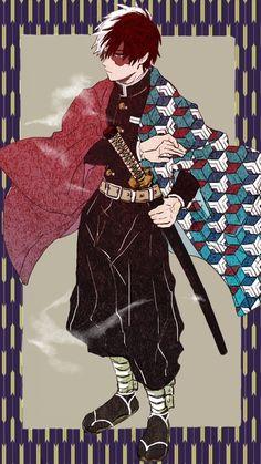 Shouto Todoroki (bnha) x Giyuu Tomioka (kny) Boku No Hero Academia, My Hero Academia Memes, Hero Academia Characters, My Hero Academia Manga, Anime Characters, Manga Art, Manga Anime, Anime Art, Anime Crossover