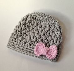 Baby Hat  Crocheted Baby Hat  Gray/Pink Hat  by TwoPeasInAPodCo