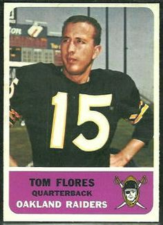 Tom Flores -QB- Flores was part of the trade that brought QB… Oakland Raiders Football, Raiders Baby, Nfl Oakland Raiders, Nfl 49ers, Pittsburgh Steelers, Dallas Cowboys, Raiders Players, Nfl Football Players, Football Cards